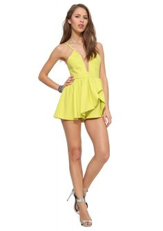 Plunge Neckline Romper in Lime | Necessary Clothing