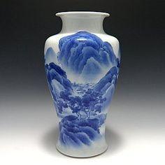 Makuzu Kozan II (Hanzan) B&W Landscape Vase
