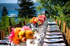 Lakefront dinner table in Lake Tahoe. Planning and Design by One Fine Day Events. Photography by Christa Hoffarth.