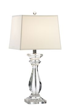 """This lovely lamp features a solid crystal base with polished nickel accents. The lamp measures 6.5"""" in diameter X 30""""H and the shade measures 12"""" X 12"""" on the top, 14"""" X 14"""" on the bottom and 11"""" on t"""