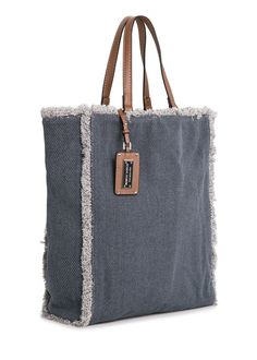 Canvas shopper bag with frayed edges. Canvas Shopper Bag, Denim Purse, Latest Bags, Craft Bags, Patchwork Bags, Fabric Bags, Handmade Bags, Handmade Leather, Fashion Bags