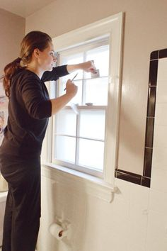 How to frost a window (anyone can do it, and they're great for a bathroom where you want privacy but still want light streaming through).