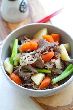 Japanese Meat and Potato Stew (Nikujaga) - hearty stew with meat and potatoes. This Japanese comfort food is delicious for colder months   rasamalaysia.com