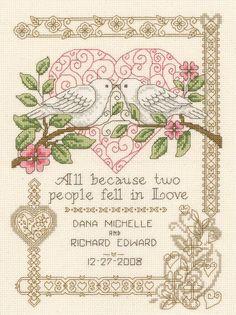 Cross Stitch Kit - All Because Wedding Record -  Imaginating Cross Stitch Kit, Wedding Counted Cross Stitch Kit, Marriage Cross Stitch Doves