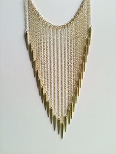 Gold Plated Long Spike Fountain Necklace by aRadboutique on Etsy, $17.99