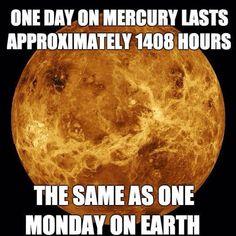 One day on Mercury.