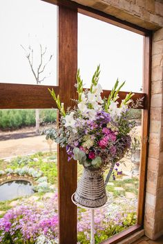 Bright Pink & Purple Bouquet. Navy Blue Bridesmaids. Gorgeous Bride, Gorgeous Flowers. Calderwood Hall. Natural Nostalgia. Décor, Flowers. Chapel Arrangement