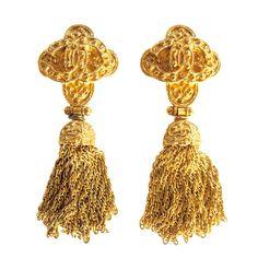 Chanel Chain Tassel Earrings