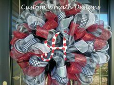 Deco Mesh Houndstooth Alabama Wreath with Hat by lilmaddydesigns, $85.00