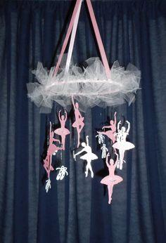 Ballet mobile Ballerina pink and white by HandmadeByNeliShop