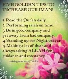 Five Golden Tips to increase our Iman! Read the Quran daily. Performing Salah on time. Be in good company and get away from bad company. Standing up for Night Prayer. Making a lot of Dua's and always asking Allah for guidance an constancy. Islamic Qoutes, Islamic Teachings, Muslim Quotes, Islamic Dua, Islam Religion, Islam Muslim, Islam Quran, True Religion, Christianity
