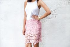 DIY LACE PENCIL SKIRT. This girls blog is actually pretty amazing with TONS of cute clothes to make!