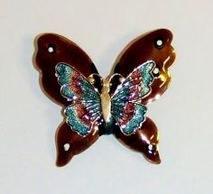 1375~Vintage Gold Tone Brown Teal Blue Enamel Figural Butterfly Brooch Pin**