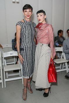 Amy Fine Collins Writer Amy Fine Collins (L) and Michelle Harper attend the Thom Browne Women's fashion show during Mercedes-Benz Fashion We...