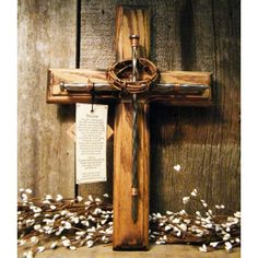 Rustic Cross Made From Railroad Tie Nails Twine