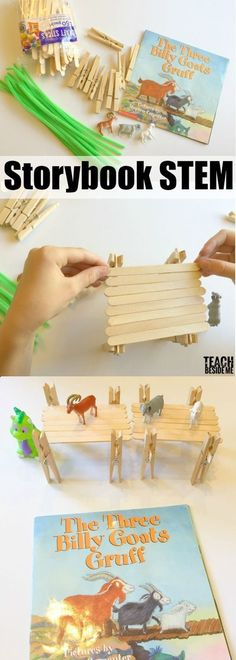 Three Billy Goats Gruff Storybook STEM- bridge building activity via I LOVE doing hands-on projects to go along with our favorite stories. This past week, we did a fun The Three Billy Goats Gruff Storybook STEM activity. We have the version of the book by Kindergarten Stem, Kindergarten Lesson Plans, Stem Science, Preschool Science, Life Science, Science Inquiry, Physical Science, Science Classroom, Earth Science