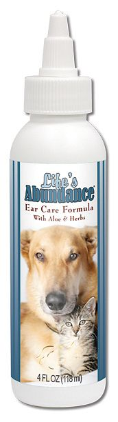 Ear Care Formula for Dogs & Cats. Cleans ears and eliminates odor, dissolves ear wax and removes dirt and debris by bringing it to the surface. Ear Care Formula dries the ear but don't worry, there's no alcohol. It also soothes the ear during application and long after. Alcohol-free. http://www.LifesAbundance.com/Catalog/ProductDetail.aspx?realname=20012124&ProductID=101051(Pet_Base)