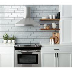 La Belle Air Polished Ceramic Tile - 3 x 12 - 100507714 Kitchen Shelves, Kitchen Backsplash, Diy Kitchen, Kitchen Design, Kitchen Decor, Kitchen Cabinets, Kitchen Ideas, Kitchen Pantries, Kitchen Plants