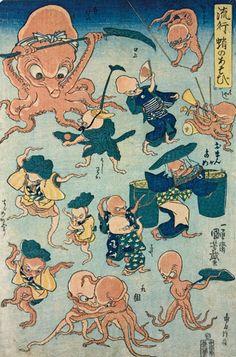 Hokusai and Hiroshige are household names but it's all about Kuniyoshi. Octopus Games, woodblock print by Utagawa Kuniyoshi Folklore Japonais, Art Japonais, Japan Illustration, Era Edo, Edo Period, Japanese Animals, Japanese Monster, Octopus Art, Kuniyoshi