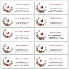 Christmas wreath individual guest address labels