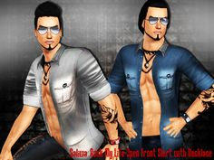 Rock My Life Open Front Shirt With Necklace by Saliwa - Sims 3 Downloads CC Caboodle