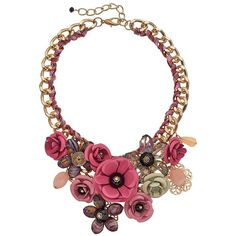 Loli Bijoux Flower Collage Bib Necklace ($46) ❤ liked on Polyvore featuring jewelry, necklaces, pink, flower jewellery, flower bib necklace, blossom necklace, bead necklace and clear crystal bib necklace