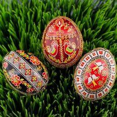 Set of 3 Ukrainian Pysanky Egg, Ukrainian Egg, Easter Eggs