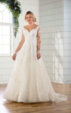 Long Sleeved Ballgown with Floral Lace | Essense of Australia