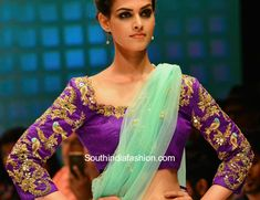 Parrot motifs maggam work blouse embellished with zardosi and mirror work embroidery