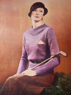What Kate-Em did next.: Handmade sportswear for women 1930s Fashion, Vintage Fashion, Jumper Patterns, Knitting Patterns, Crochet Patterns, Jumpers For Women, Women's Jumpers, Sports Women, Female Sports