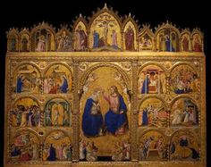 GUARIENTO d'Arpo Coronation of the Virgin  1344 Tempera and gold leaf on panels, 218 x 265 cm Norton Simon Museum of Art, Pasadena  This polyptych was above the main altar in the church of San Martino in Piove di Sacco, outside of Padua.