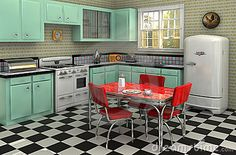 Retro keuken van de jaren '50 volledig met fornuis, ijskast, de reeks van chroomdinette, percolator, broodrooster, brooddoos en radio