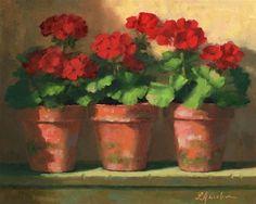 "Daily Paintworks - ""Geranium Trio"" - Original Fine Art for Sale - © Linda Jacobus Potted Geraniums, Red Geraniums, Potted Plants, Watercolor Flowers, Watercolor Paintings, Painting & Drawing, Fine Art Auctions, Fine Art Gallery, Flower Cards"