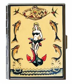 Retro Tattoo Mermaid Sharks Nautical Sailor Girl Anchor Bad