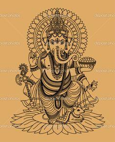 indian god ganesha — Stock Vector