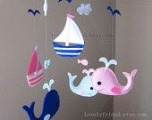 "Baby Mobile - Whale and Sailboats Crib Mobile - Handmade Nursery Mobile - ""Baby Pink and Blue Whales and Sailboats"" (Match your bedding)"