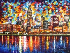 """CHICAGO — Palette Knife Oil Painting On Canvas By Leonid Afremov.  40""""x30"""" City  #Impressionism"""