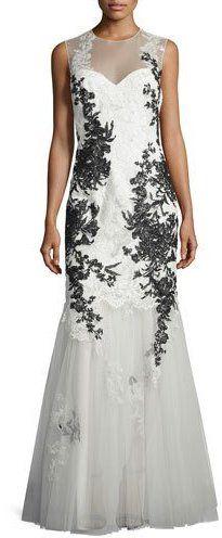 Rickie Freeman for Teri Jon Sleeveless Illusion Lace Applique Mermaid Gown