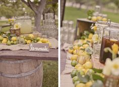 burlap runner, lemons, and barrel