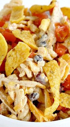 Fiesta Ranch Chicken Pasta Salad. With black beans, Fritos and a bunch of other yummy goodness.