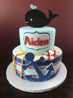 Nautical Baby Shower Cake Nautical Baby, Baby Shower Cakes, Shark, Bridal Shower, Birthday Cake, Desserts, Food, Pancakes, Cakes Baby Showers