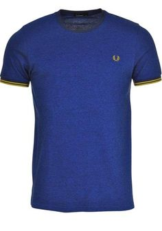 FRED PERRY Pique Ringer T-Shirt in Carbon Blue available to purchase online at www.mcelhinneys.com