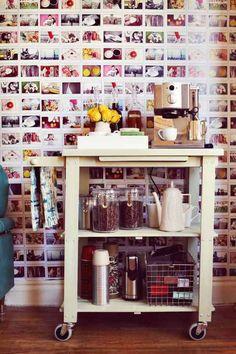 repurpose bar carts and make a coffee station