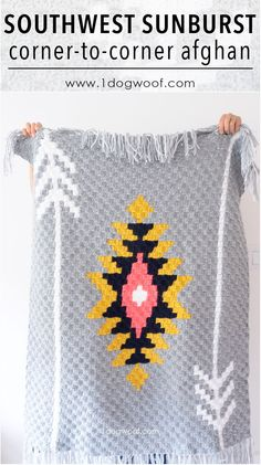 Full graph and written instructions for the throw-sized Southwest Sunburst crochet afghan. Includes corner to corner crochet tips and resources. C2c Crochet Blanket, Crochet For Beginners Blanket, Tapestry Crochet, Afghan Crochet Patterns, Crochet Afghans, Crochet Blankets, Afghan Blanket, Crochet Home, Crochet Crafts