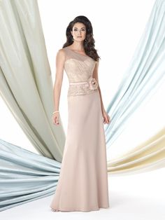 Affordable Illusion Coral Chiffon Mother Of The Bride Dress