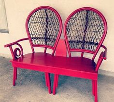 Repurposed Furniture - One of the best chair to bench conversions I've seen.