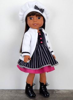 inch Doll Clothes-Grey Pinstripe Dress with White Coat Ag Dolls, Girl Dolls, Black Pinstripe Suit, Wellie Wishers Dolls, Cute Princess, Doll Dresses, Pink Polka Dots, Black Trim, Clothing Patterns