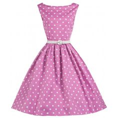 Audrey Polka Dot Swing Dress in Pink by Lindy Bop