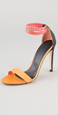 Amber High Heel Sandals Colorblock leather sandals by Tibi