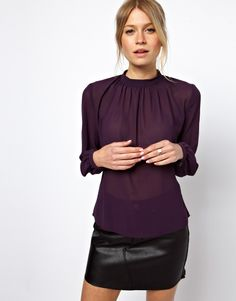 20cc941f2b8 ASOS blouse with gathered neck - this blouse is sheer so wear a skin-tone  camisole underneath.